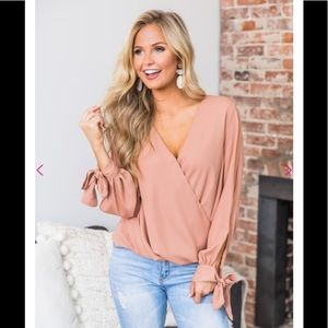 Peach long sleeve cold shoulder top